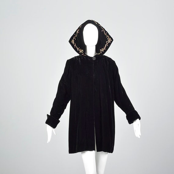 1940s Hooded Coat Loose Autumn Coat Sequin Hood Bl