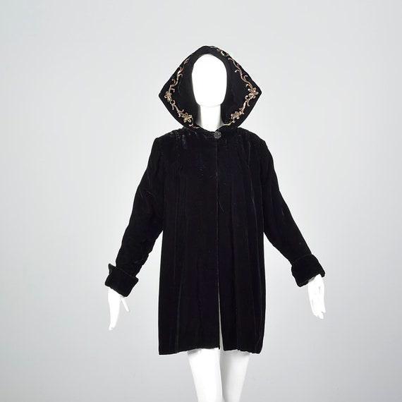 1940s Hooded Coat Loose Autumn Coat Sequin Hood B… - image 1
