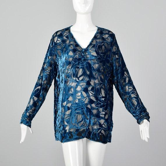 XL 1920s Silk Devore Blouse 20s Burnout Silk Larg… - image 1