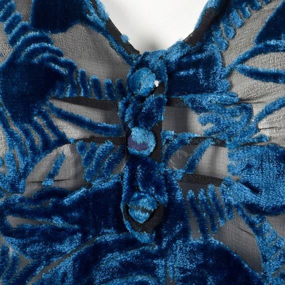 XL 1920s Silk Devore Blouse 20s Burnout Silk Larg… - image 8