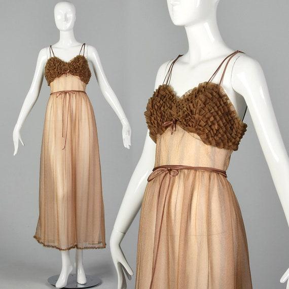 XS 1950s Beige Nightgown Sheer Pin Up Nightgown Ru