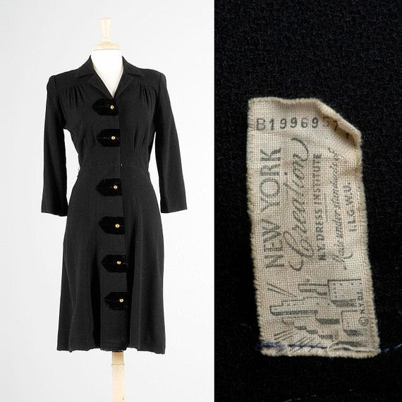 Medium 1940s Dress Little Black Dress 40s Black Dr