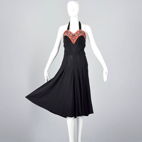 Velvet Detail Pink Beading Black Outfit Vintage Dress Wear Party Halter XS Evening LBD 1930s Neckline 30s Dress Cocktail wqzACYC