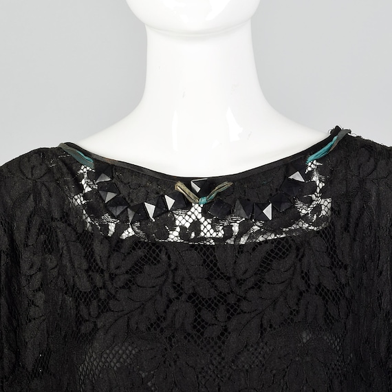 1920s Black Lace Dress Hip Sash and Bell Sleeves … - image 7