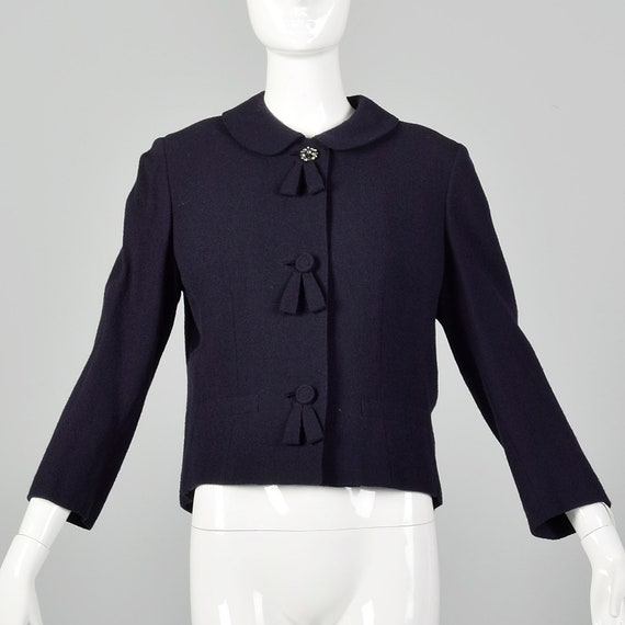 Medium 1960s Navy Blue Cropped Wool Peter Pan Coll