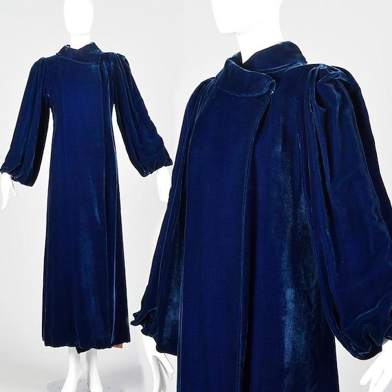 XXS 1940s Coat Blue Velvet Opera Coat Full Length