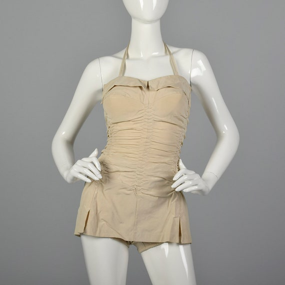XS 1950s Ruched Swimsuit Pin Up Swimsuit Halter On