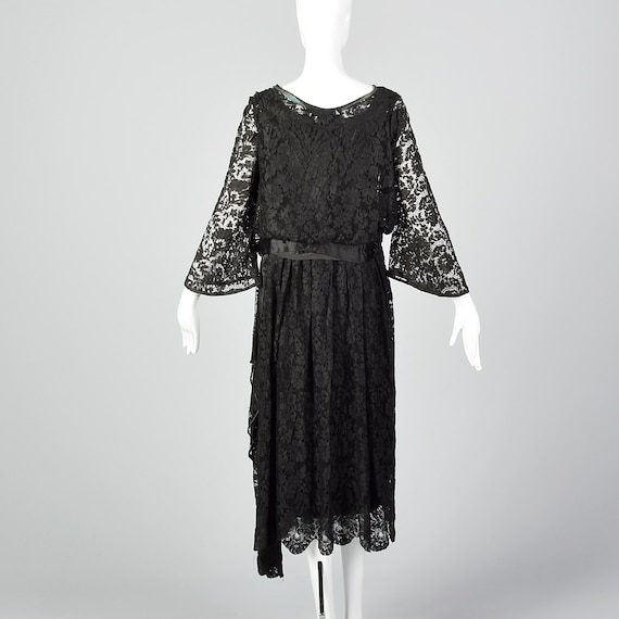 1920s Black Lace Dress Hip Sash and Bell Sleeves … - image 3