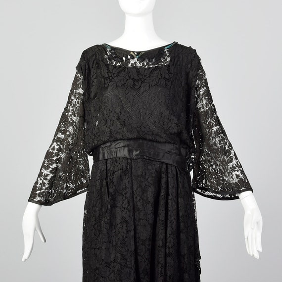 1920s Black Lace Dress Hip Sash and Bell Sleeves … - image 4