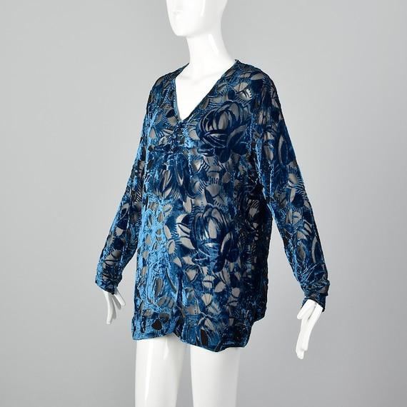 XL 1920s Silk Devore Blouse 20s Burnout Silk Larg… - image 3