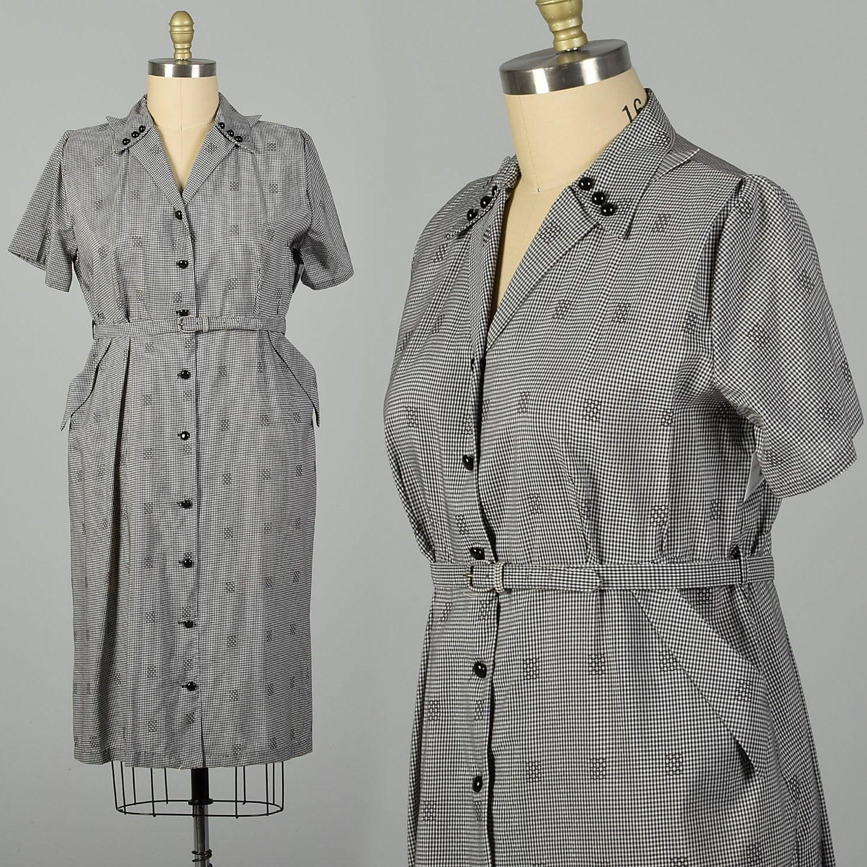 1950s Hats: Pillbox, Fascinator, Wedding, Sun Hats xxl 1950S Dress Black Checkered Waist Belt Short Sleeve $0.00 AT vintagedancer.com