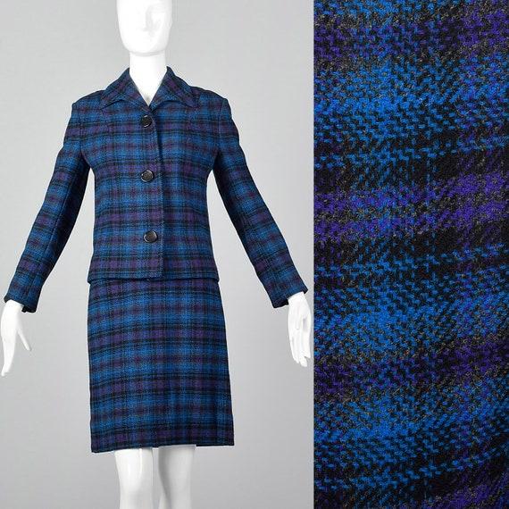 1960/'s Blue /& Purple Plaid Wool Suit
