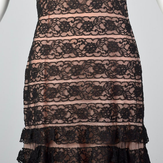 Pink 40s Vintage Lace Short 1940s Lining Dress Mermaid Sleeves Evening Evening Black Gown Sheer Small Lace Formal Black Dress Wear tUOHwwq