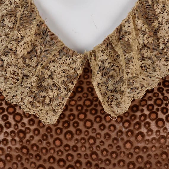 Wear Medium Gatsby 20s Brown Antique 1920s Devore Day Lace Drop Flapper Vintage Dress Collar Dress Silk Waist w6ZwY