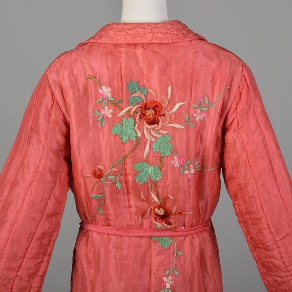 Medium 1930s Pink Robe Quilted Asian Inspired Sil… - image 4