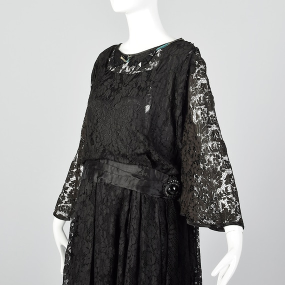 1920s Black Lace Dress Hip Sash and Bell Sleeves … - image 5