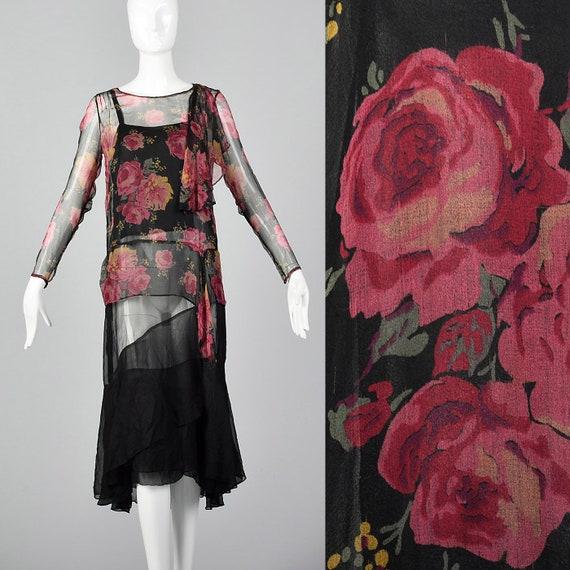 XXS 1930s Dress Black Silk Slip Dress Rose Print T