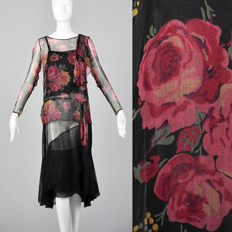 b68747da96fcae XXS 1930s Dress Black Silk Slip Dress Rose Print Top Sheer | Etsy