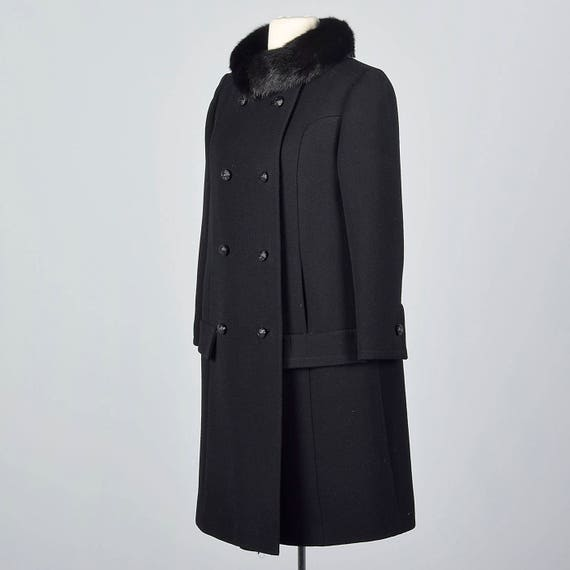 Vintage 1960s Sleeves Weight Coat Mink Black Collar Separates Long Breasted Double 60s Winter Wool Small Heavy Wool Coat TxRwFqR