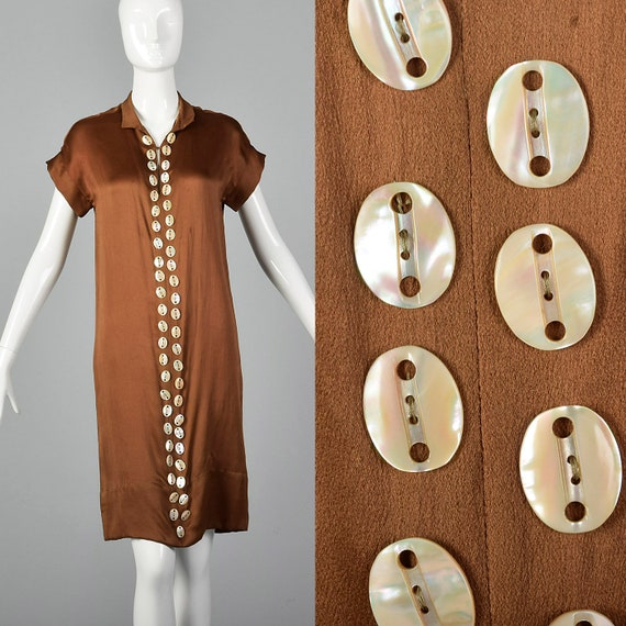 XXS 1920s Brown Silk Dress Mother of Pearl Buttons