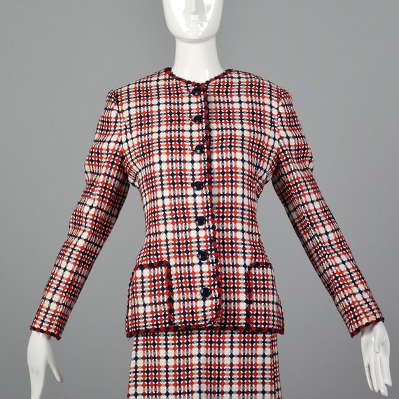 1960s Spring Patch Plaid Dress Pockets Set Short Matching Fall Vintage Jacket Sleeve Red Matching Set Separates 60s Blue Large dnxRwzZd