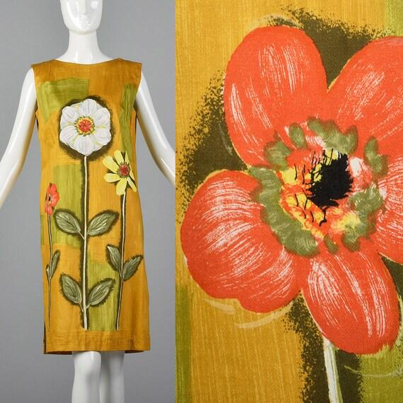 Shift Mod Lightweight Novelty Casual Deadstock Dress Spring Shift 1960s 60s Vintage Sleeveless Print Floral Medium Dress qEHBUwx1n