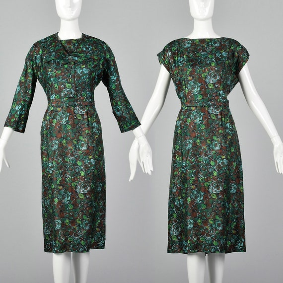 Large 1950s Silk Dress and Jacket Set Abstract Flo