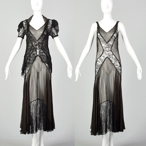 XS 1930s Black Dress Matching Jacket Sheer Silk Ch