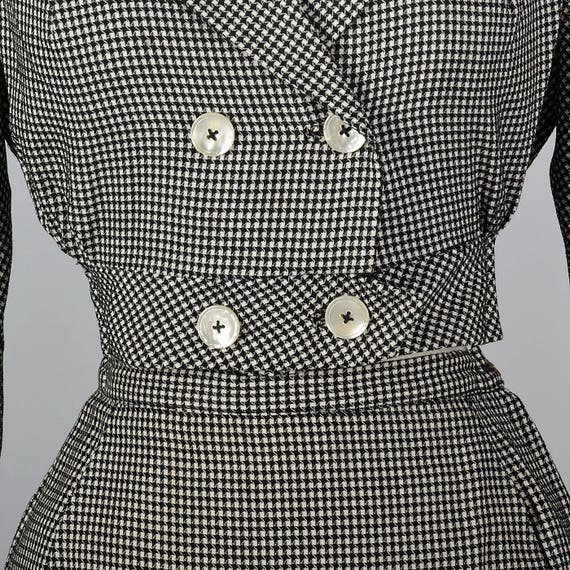 Separates Set White Pencil Long Skirt Fitted 1960s Black 60s Vintage Checked Sleeve Cropped Skirt Waist Jacket XS Separates Axgvqtnw