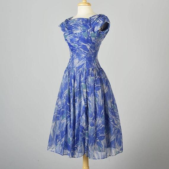 Short Sleeve Dress Mid XS Party Party Dress 1950s Dress Vintage Cocktail Cocktail Blue Dress Woman Summer Century Chiffon Dress Evening 50s Pg8qzPf