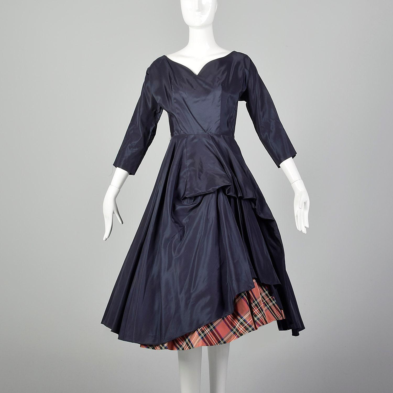 1950s Hats: Pillbox, Fascinator, Wedding, Sun Hats xs 1950S Dress Navy Blue Taffeta Full A-Line Skirt Red Tartan Plaid Underskirt 50S Pinup Rockabilly $0.00 AT vintagedancer.com