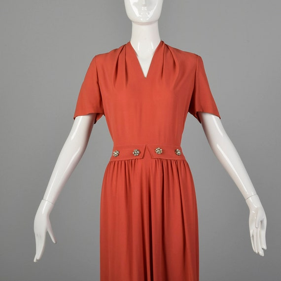 Small 1940s Rayon Dress in Pink Vintage Rayon Gow… - image 5