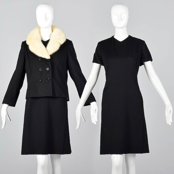 Large 1960s Winter Separates Shift Dress Mink Fur