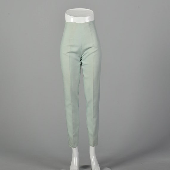 XXS 1960s Mint Pants Hight Waisted Cigarette Pants