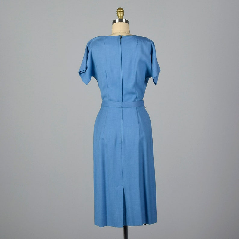 Small 1950s Dress Blue Rayon Day Dress Short Sleeves Pencil Skirt Spring Summer Day Wear Casual 50s Vintage