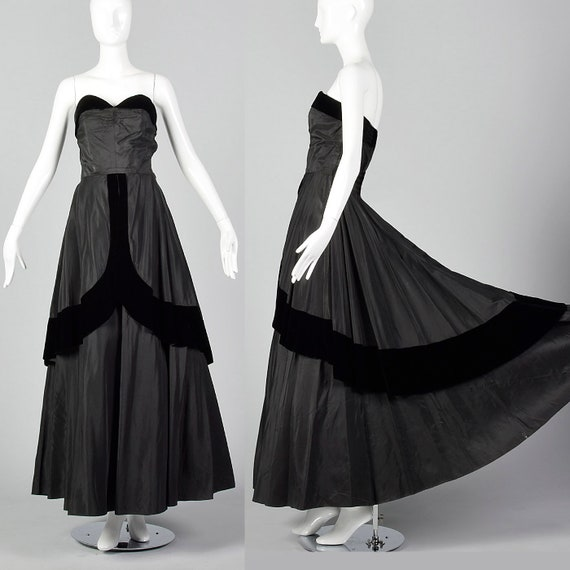 Small 1950s Dress Black Taffeta Dress