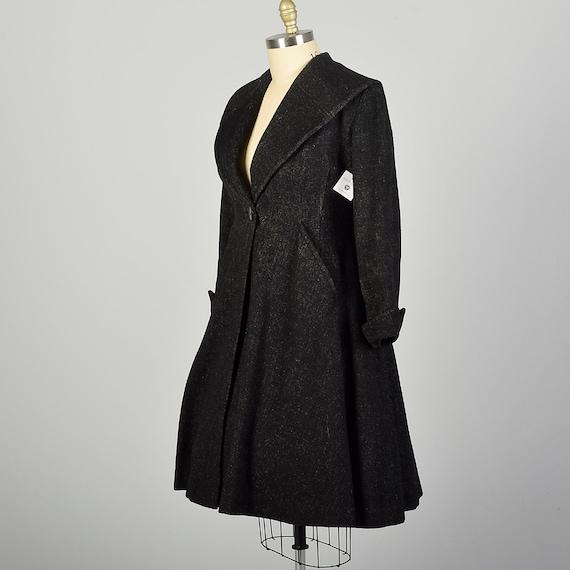 Large 1950s Coat Grey Princess Fit & Flare Wool S… - image 3