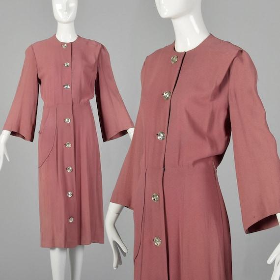 XXS 1940s Day Dress Mauve Button Front Dress Vinta