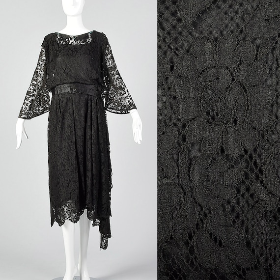 1920s Black Lace Dress Hip Sash and Bell Sleeves 2