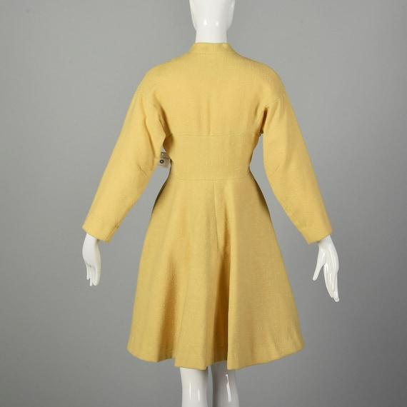 Small 1950s Princess Coat Yellow Wool Spring Rock… - image 3