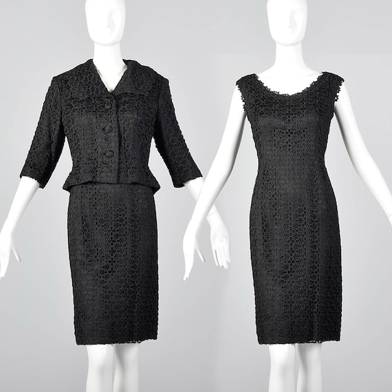 Large 1950s Spiderweb Dress Set Black Lace Spider
