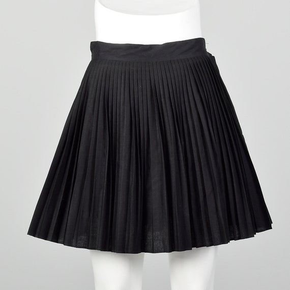 Small 1960s Black Skirt Pleated Micro Mini 60s Che