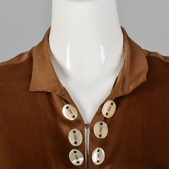 XXS 1920s Brown Silk Dress Mother of Pearl Button… - image 6