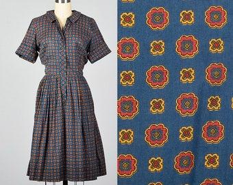 Large 1960s Dress Cotton Print Shirtwaist Dress Button Front Short Sleeves Casual Lightweight Day Wear Summer 60s Vintage