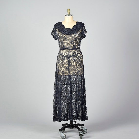 XL 1940s Navy Blue Lace Dress Sheer Overlay Metal