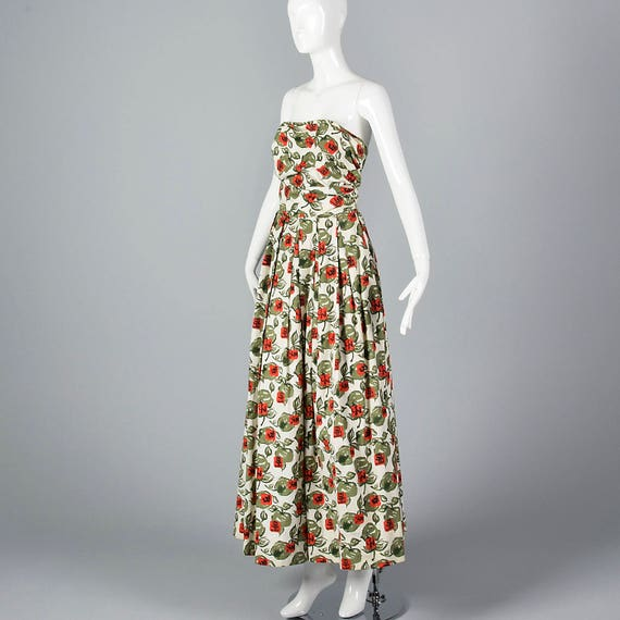 XS 1950s Dress Novelty Print Strapless