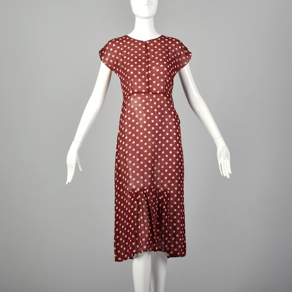 XXS 1930s Red Dress White Polka Dots Sheer Silk Ch