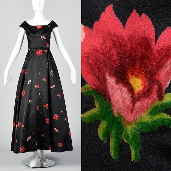 XS 1950s Hattie Carnegie Floral Gown Black Vintage