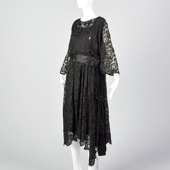 1920s Black Lace Dress Hip Sash and Bell Sleeves … - image 2