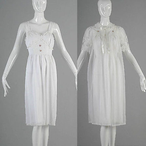 Small 1960s Nightgown Set White Lingerie Set Night